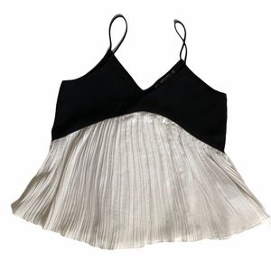 Zara pleated black and white blouse size small